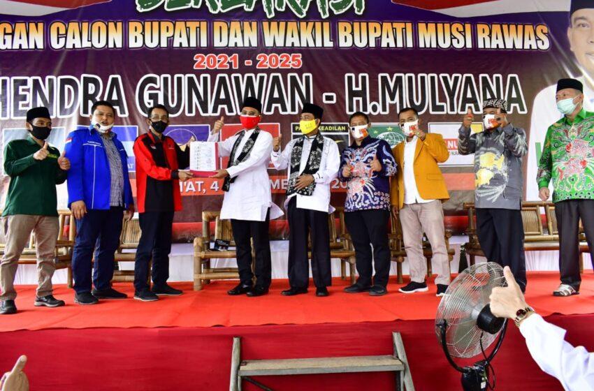 Diusung 7 Parpol, Pasangan H2G – Mulya Pertama Daftar ke KPU Musi Rawas
