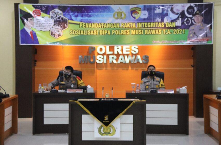 Kapolres Musi Rawas, Kasat dan Kapolsek Tandatangani Pakta Integritas Transparansi Anggaran